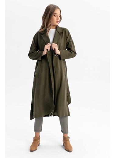 Tiffany&Tomato Ceket Yaka Beli Kuşaklı Uzun Süet Trençkot-Siyah Haki